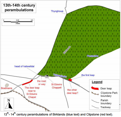 A reconstruction of the 13th - 14th century perambulations of Clipstone by Andy Gaunt 2011.